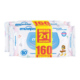 Toallitas Humedas para Bebés Pack de 160 Unidades (80 Uni c/u)
