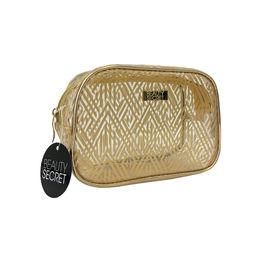 Cosmetiquero Transparente de PVC diseño dorado