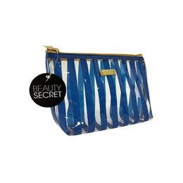 Cosmetiquero Transparente de PVC con franjas azules